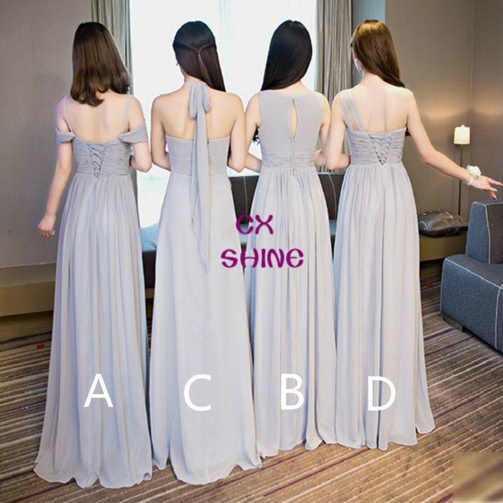 CX SHINE New Custom color Chiffon 4 style Gray long Bridesmaid Dresses  cheap wedding Prom Dress party dress plus size Vestidos free shipping  worldwide e03fe25a8d15