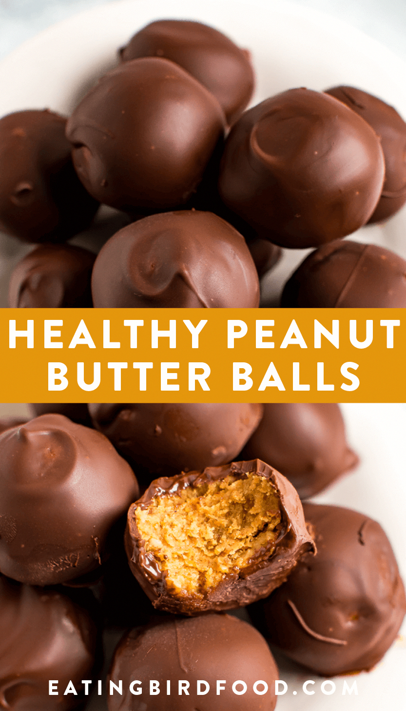 Make healthy peanut butter balls with only 5 simple ingredients: peanut butter, oats, dates, chocolate and coconut oil! No powdered sugar or butter needed. These peanut butter balls are dairy-free, gluten-free and vegan!