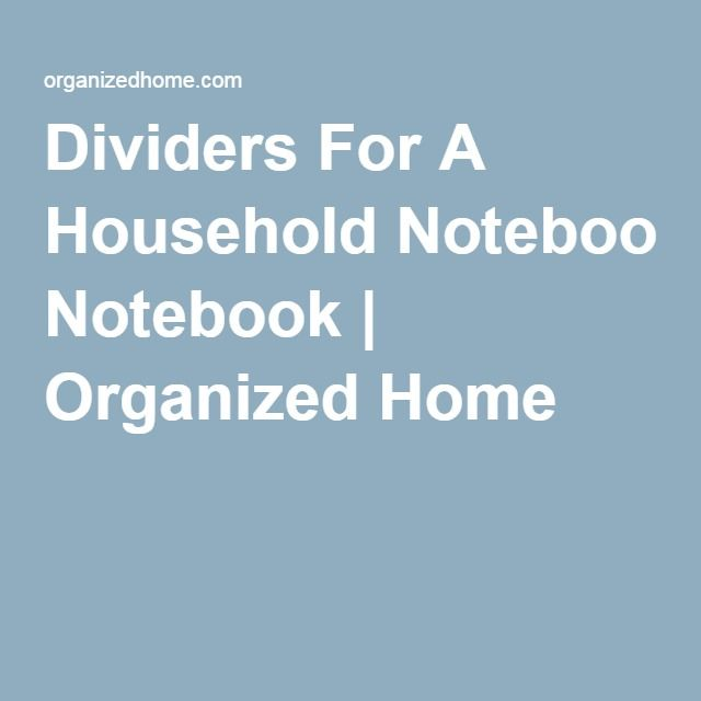 Dividers For A Household Notebook
