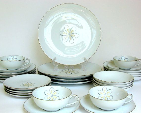 vintage Mid-Century china Wentworth of Japan\u0027s \ Rhapsody\  features a silver \u0026. Replacement DishesSalad PlatesDinnerware SetsChina ... & vintage Mid-Century china Wentworth of Japan\u0027s \