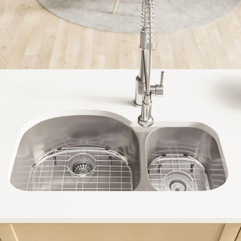 Rene Undermount Stainless Steel 32 1 8 In Left Double Bowl Kitchen Sink Brushed Satin Double Bowl Kitchen Sink Sink Stainless Steel Kitchen