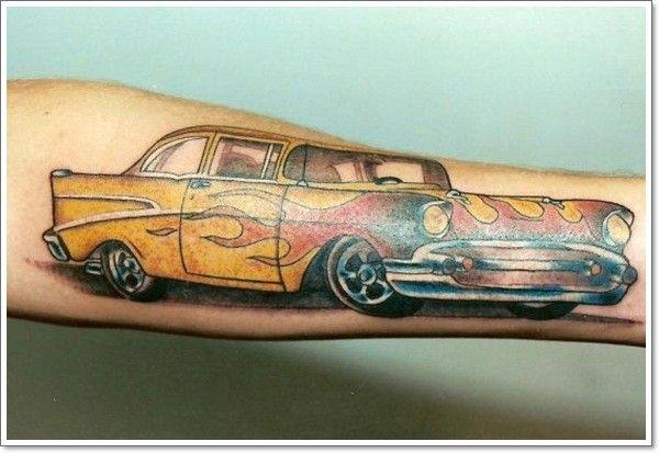 Racing car forearm tattoo