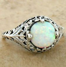 WHITE LAB OPAL ANTIQUE FILIGREE DESIGN .925 STERLING SILVER RING,     #640