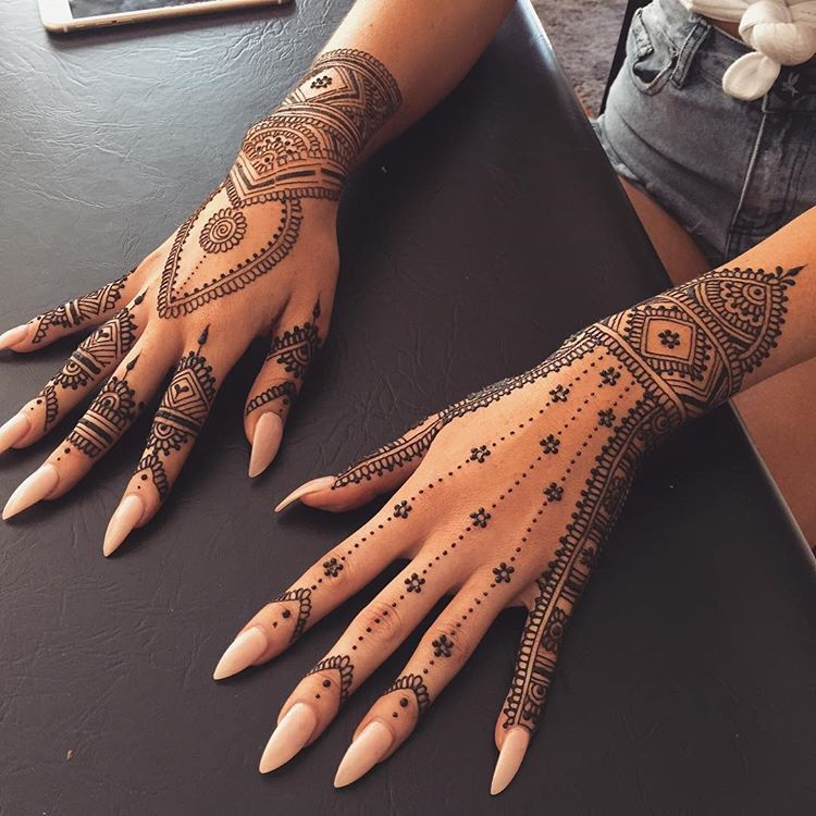 Professional Henna Tattoo Artists For Hire In Austin: Henna On Hands Nail Art Idea #Tattoosonneck