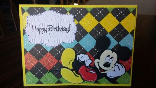 Mickey Mouse Birthday card I made for my nephew who is turning two!  I used the Cricut cartridge Mickey and Friends to complete this card.