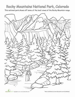 First Grade Places Geography Worksheets Rocky Mountains National Park Cool Coloring Pages Sheets