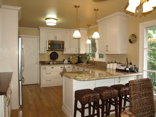 Kitchen Peninsula Design With Rattan Chairs And White Cabinet Also