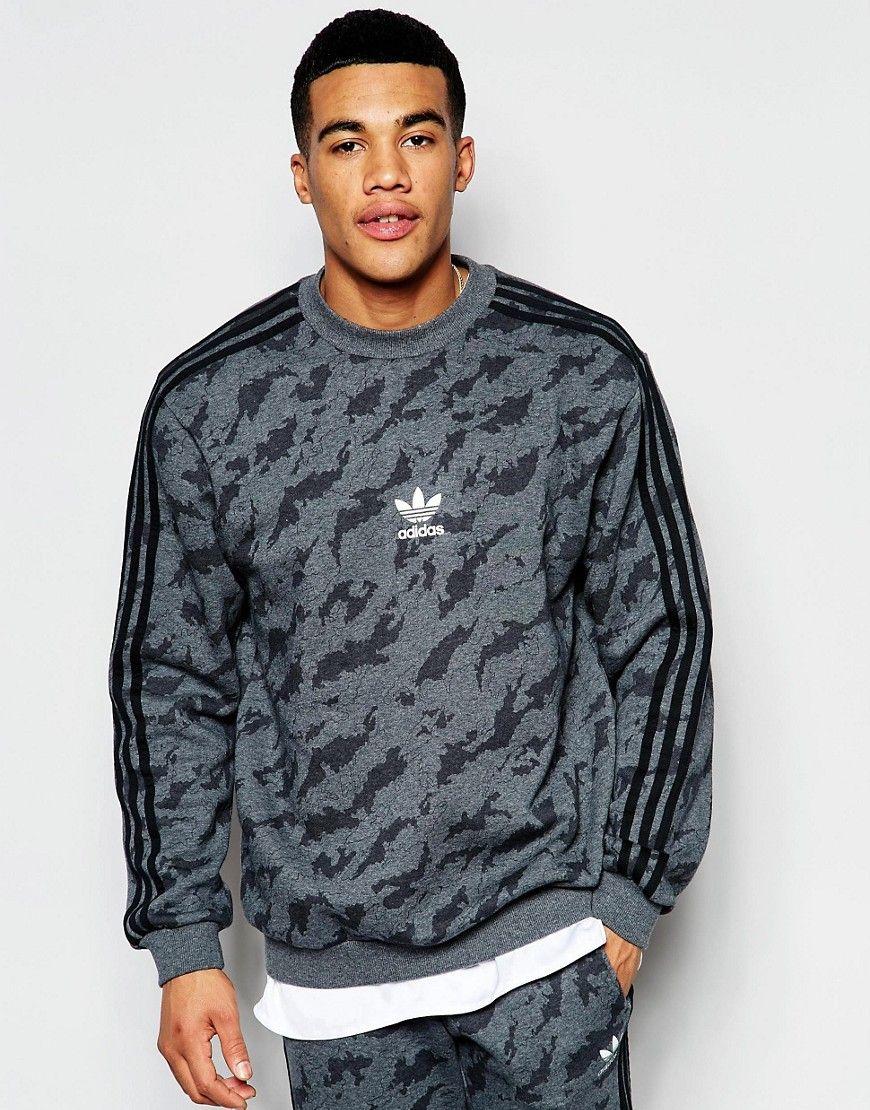 Mega cool adidas Originals Camo Sweatshirt AJ7902 - Grey adidas Originals Sweatere til Herrer til hverdag og til fest