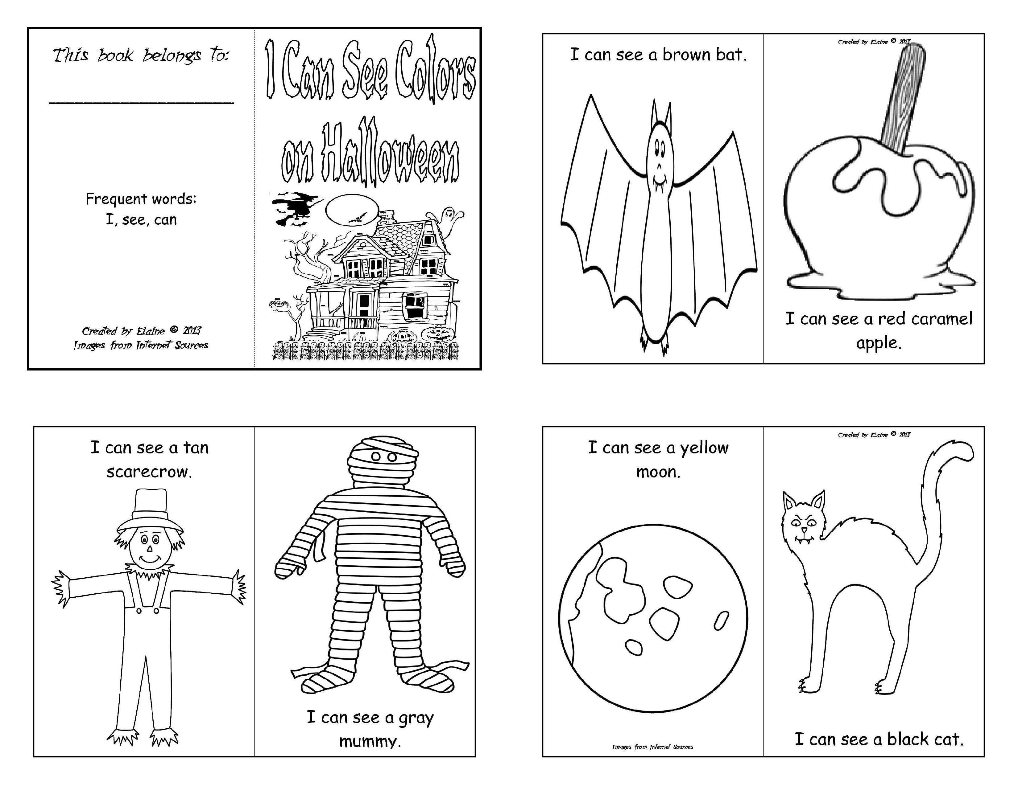 Free Printable Halloween Mini Coloring Books Pictures