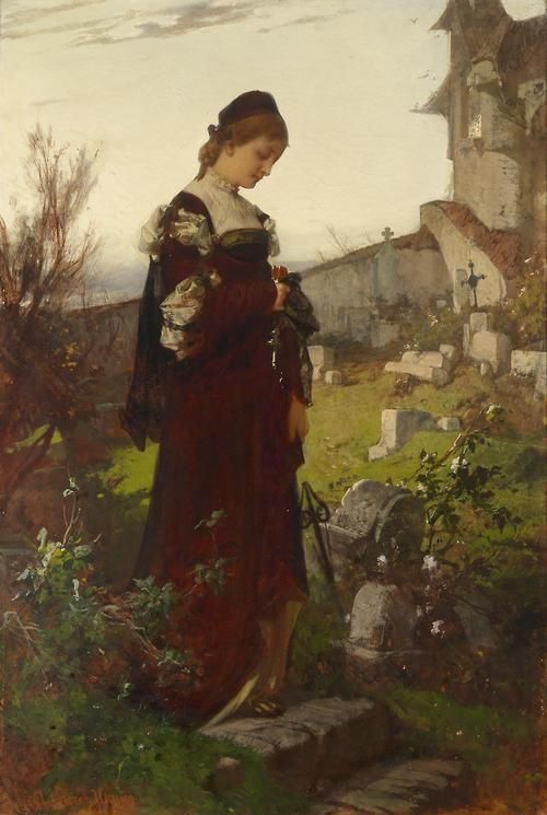 Alexander von Liezen-Mayer -(1839 - 1898) - Girl in a cemetery-I will never forget you ignored my pain this day, mr b