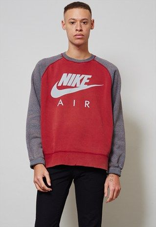 f18d490a19935a 90'S VINTAGE OVERSIZED RED NIKE SWEATER- NORDIC POETRY Red Nike Sweater,  Mens Sweatshirts,
