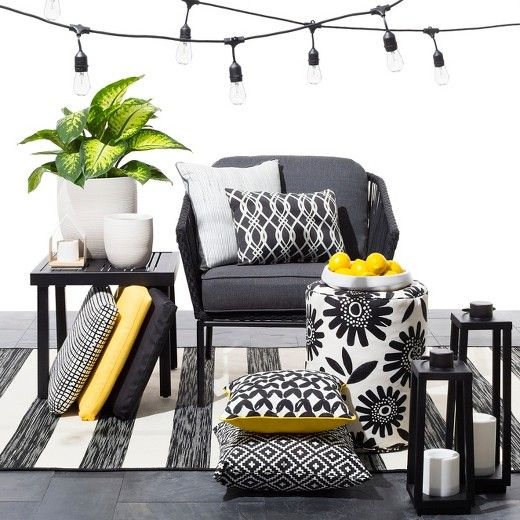 Target Black and white patio accessories with pops of juicy color is a  style made easy with the Modern Outdoor Decor Collection. - Target Black And White Patio Accessories With Pops Of Juicy Color Is