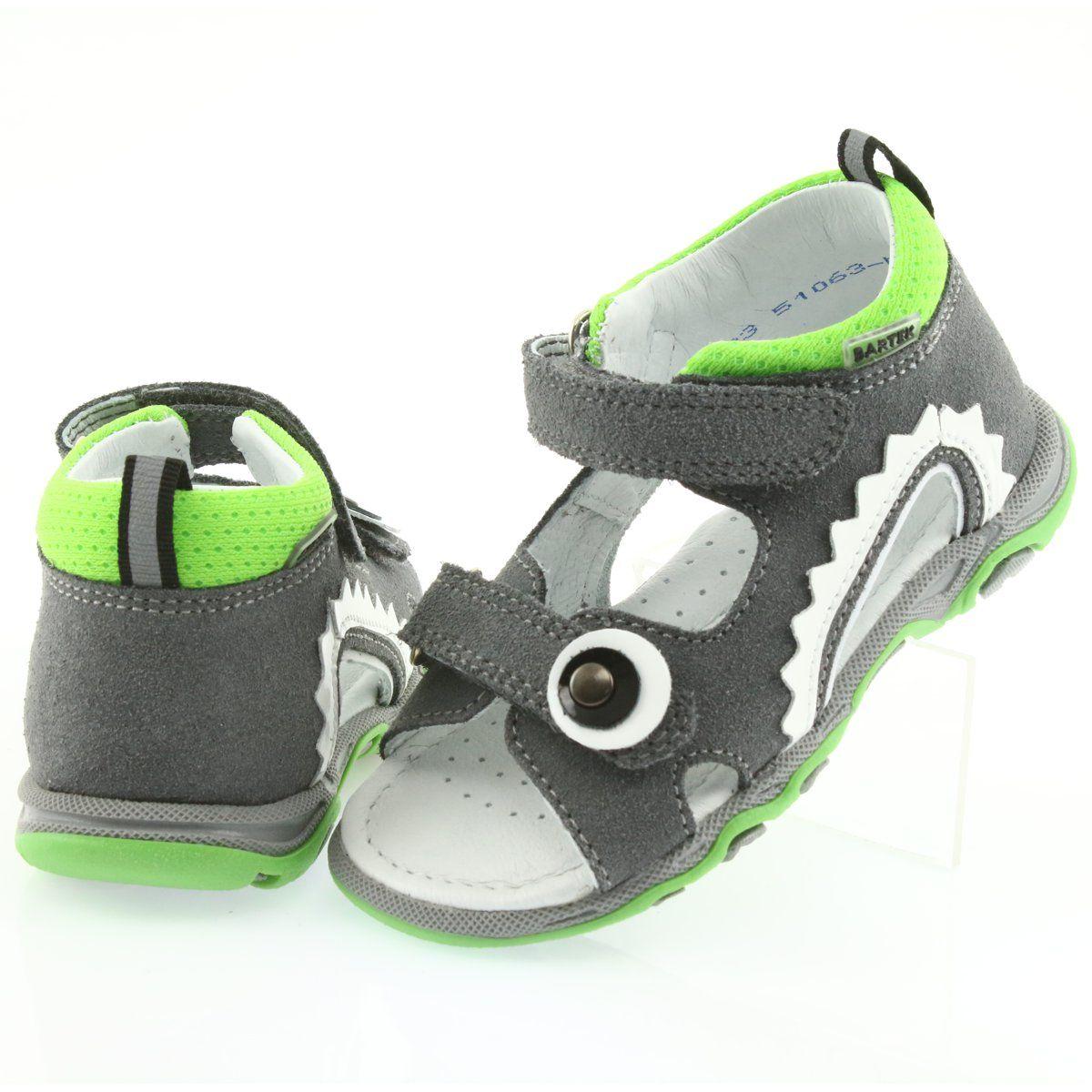 Sandalki Chlopiece Rzepy Bartek 51063 Szare Biale Zielone Childrens Leather Shoes Kid Shoes Grey Sandals