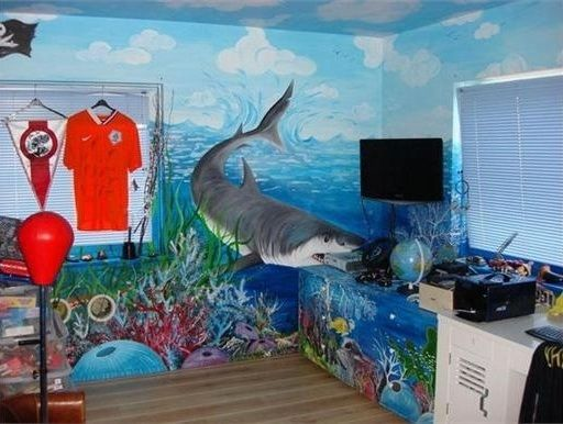 shark under water ocean scene painted mural bedroom wall the