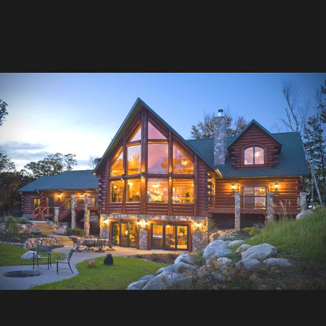 Log cabins with huge windows my dream house for Windows for log homes