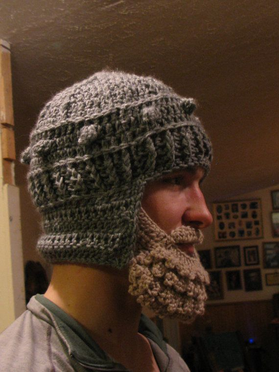 Medieval Helmet/ Manly-Man Beard Crochet Pattern- Teen/Adult #crochetedbeards