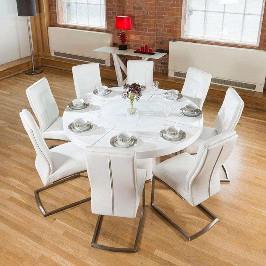 Large Round White Gloss Dining Table Lazy Susan 8 White Chairs 4110 In 2020 Large Round