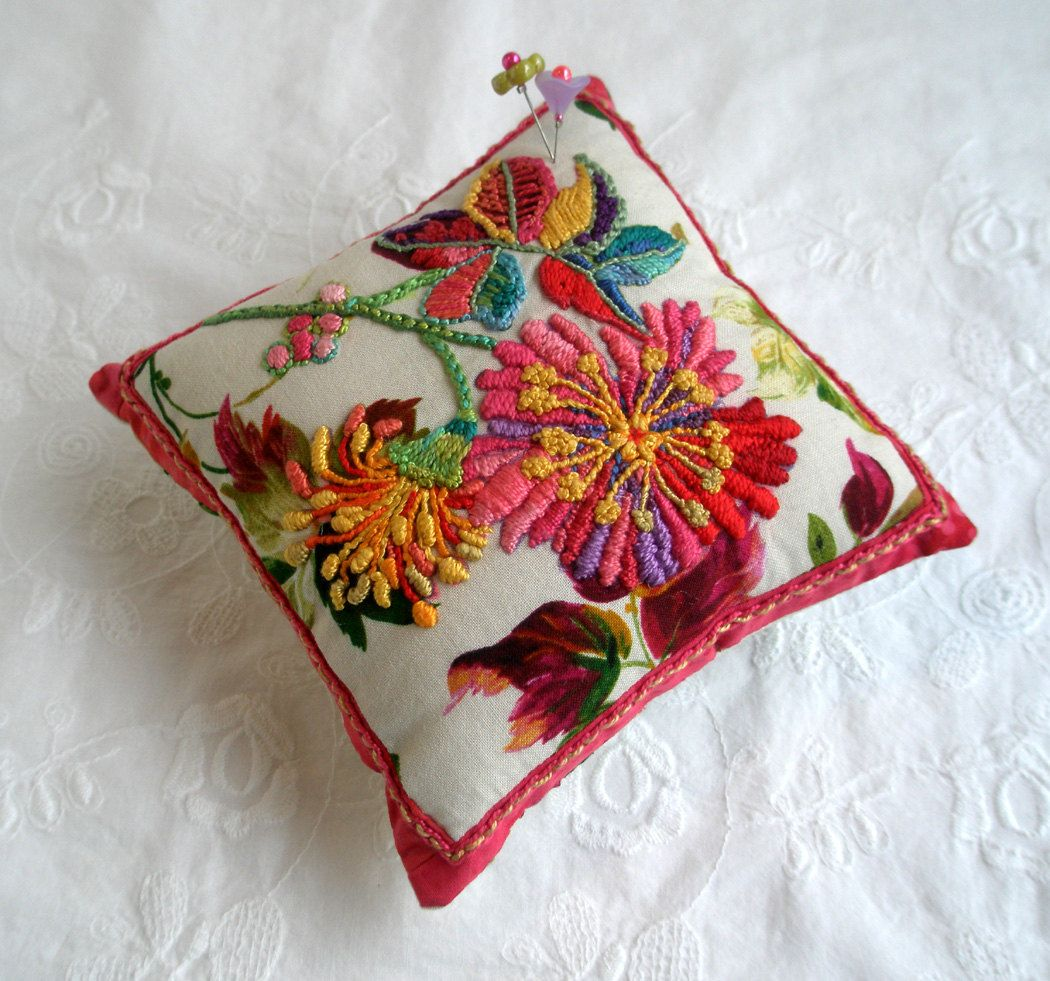 Pincushion sunny garden hand embroidered embroidery and fabrics