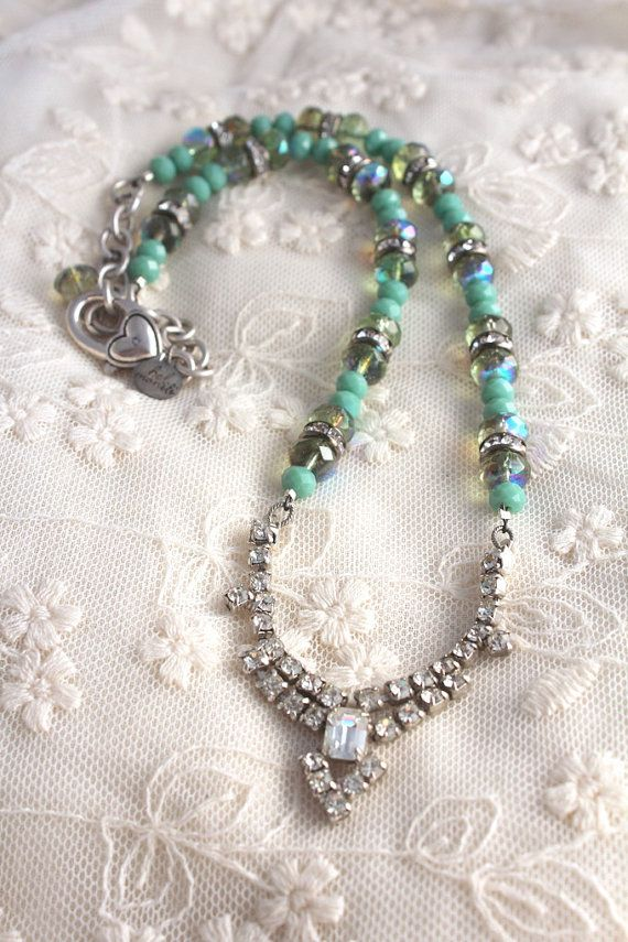 Blue Green Necklace Aqua Wedding Bridesmaid Gift by belmonili