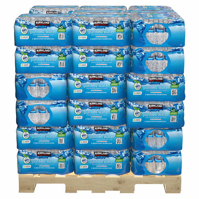 Kirkland Signature Bottled Water 16 9 Fl Oz 40 Pack 48 Case Pallet Water Bottle Toilet Paper Storage Bottle