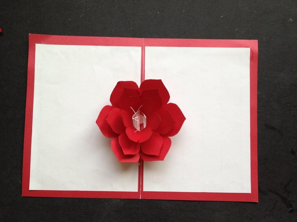 Easy To Make A 3d Flower Paper Card Tutorial Free Pattern Pop Up Flower Cards Pop Up Cards Paper Pop