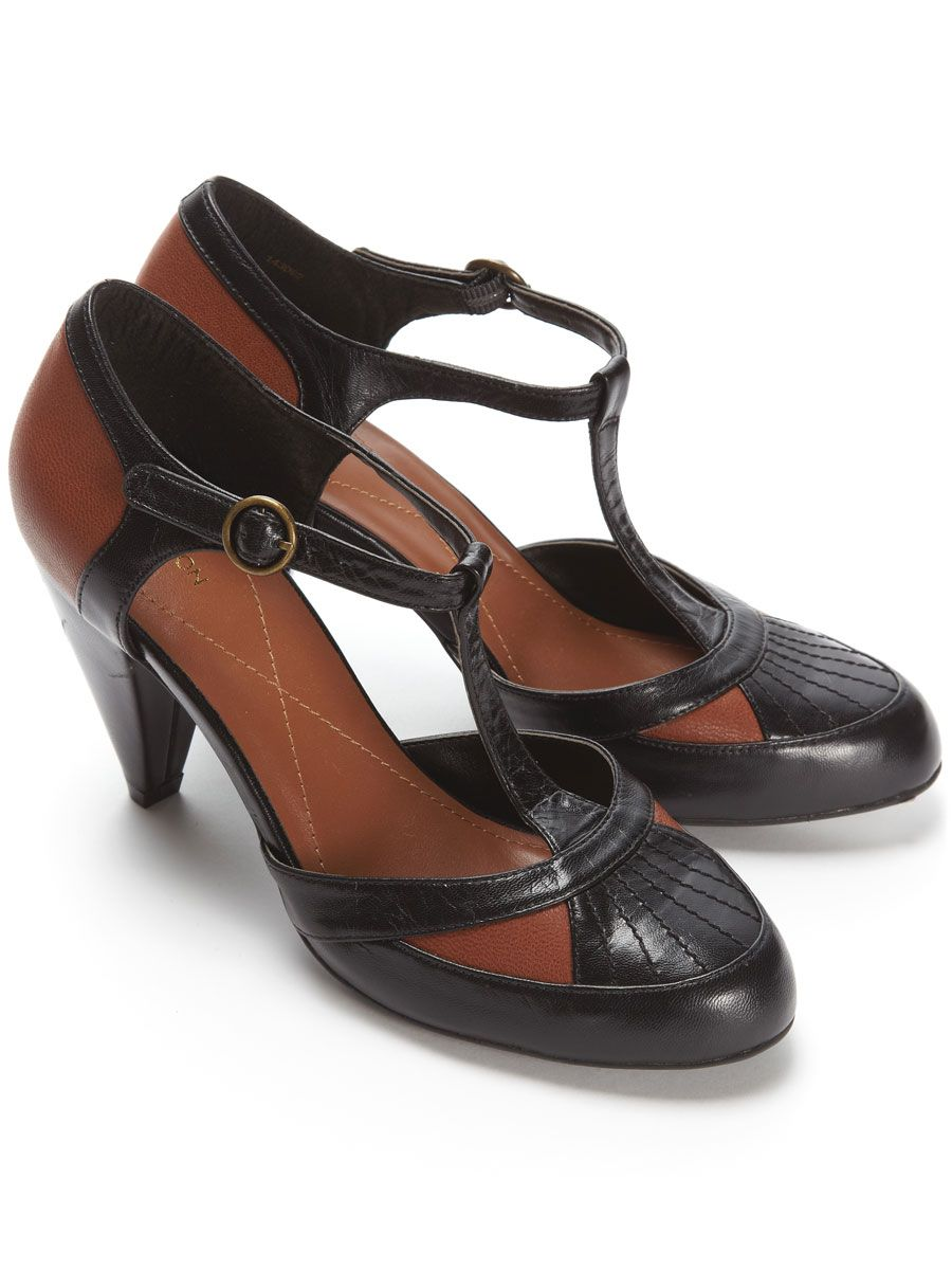 Tan And Black Leather T Bar Court Shoe