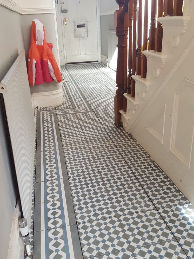 Topps Tiles Henley Cool Laid In The Hall With Gray Grout