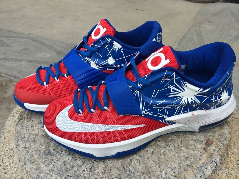 100% authentic 6509a 69a7e Cheap Nike KD 7 Shoes Red - Treasure Blue - White Wholesale ...