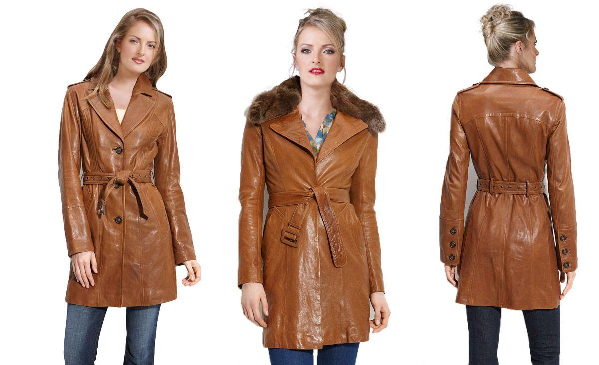 Brown Leather Trench Coat Women men women men women men