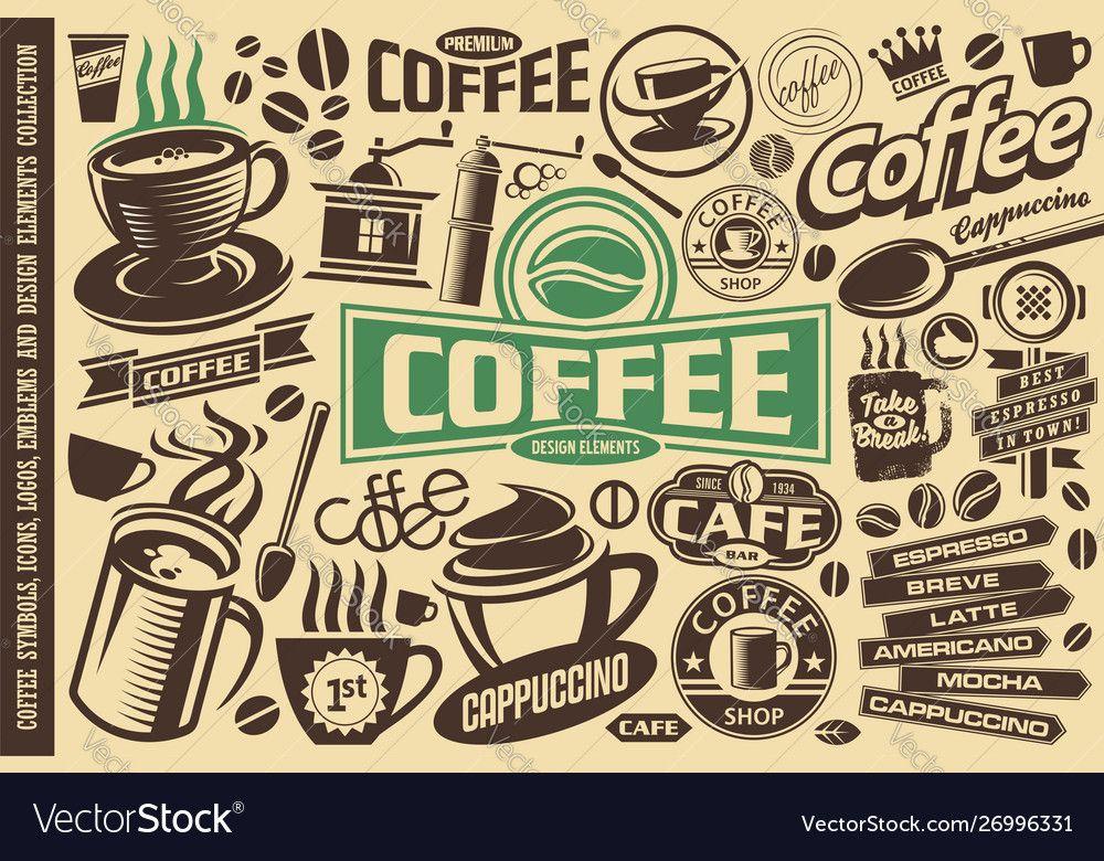 Coffee set icons logos emblems symbol vector image on ในปี