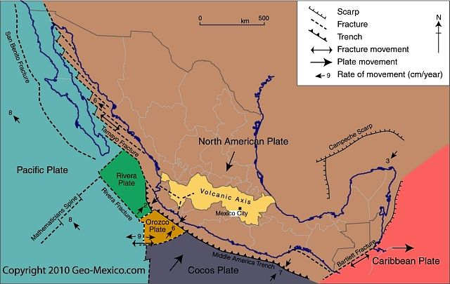 Blog post How has the movement of tectonic plates affected Mexico - copy world map with ocean trenches