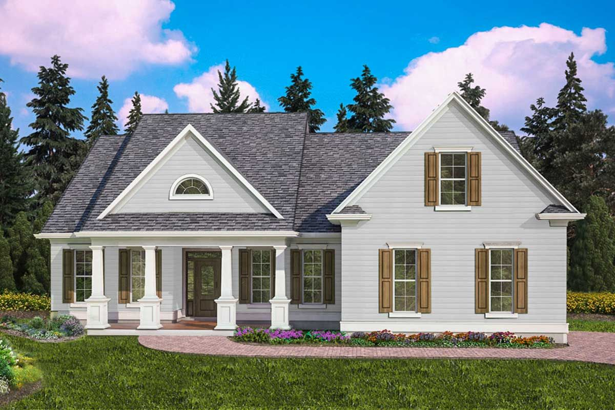 Plan 25635ge Charming Three Bed Farmhouse With Optional Bonus Room In 2020 Cottage House Plans Ranch Style House Plans House Plans Farmhouse