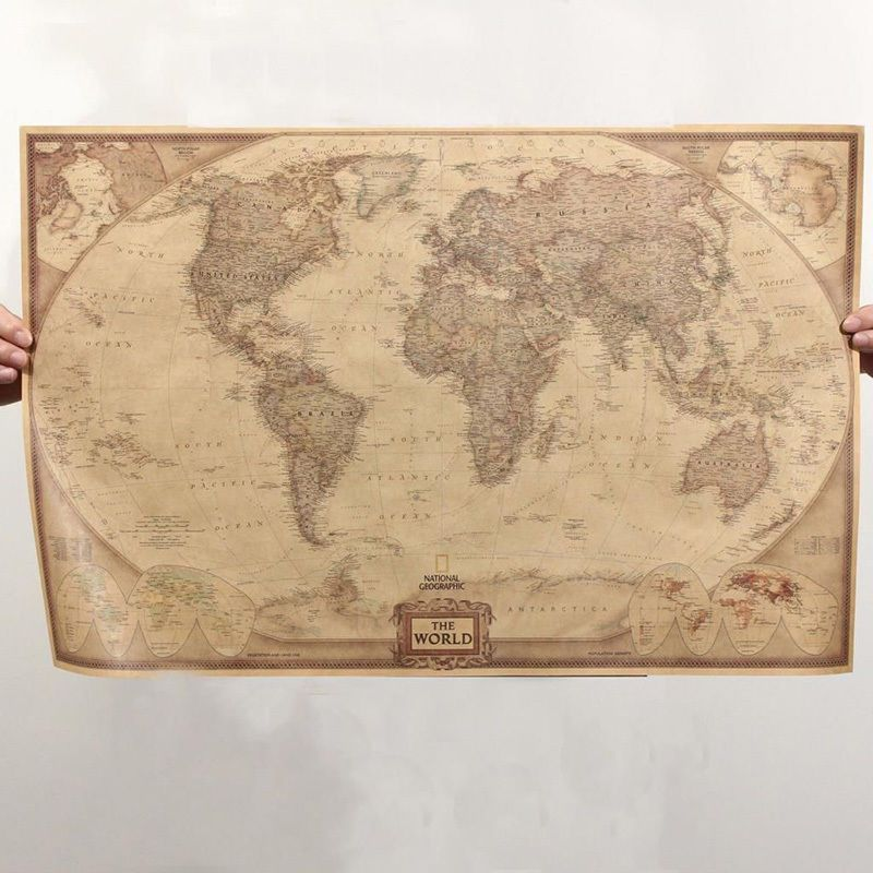 Vintage World Map Retro Antique Poster Wall Chart Home Decoration - Retro world map poster