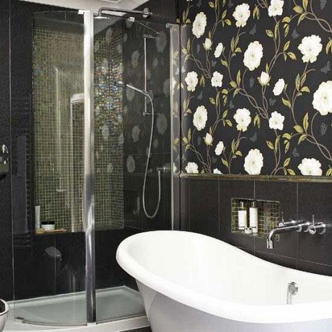 Greyu0027s And Greens Modern Glamour Bathroom Wallpaper | Picsdecor.com