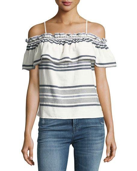 51657b67899 SPLENDID TRAVELER STRIPED OFF-THE-SHOULDER TOP, WHITE. #splendid #cloth #