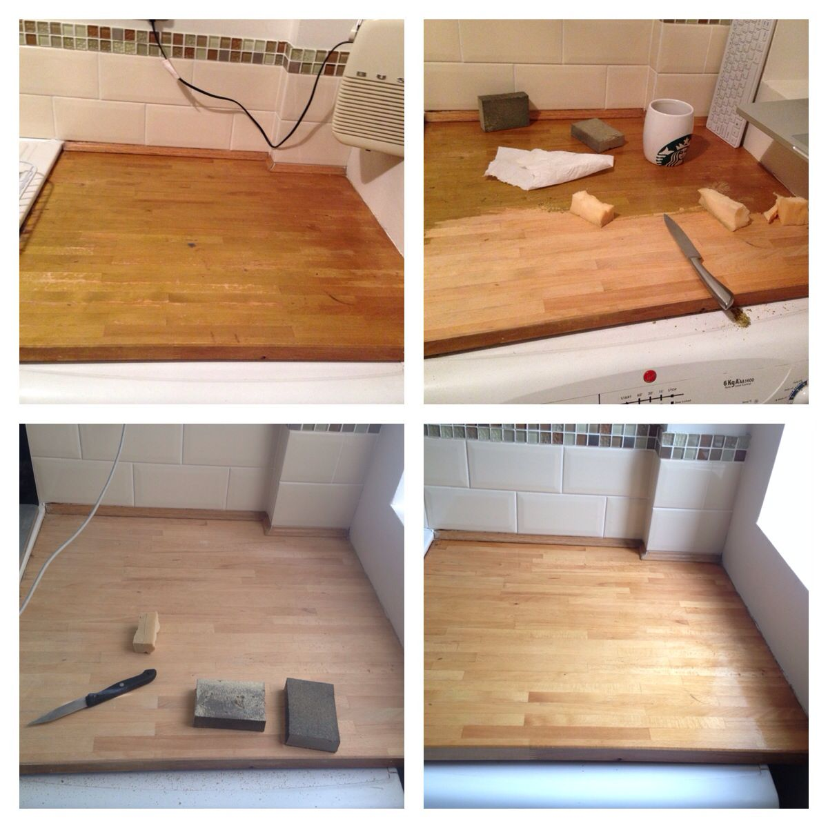 Kitchen worktop resealing with Howdens Solid Wood Worktop