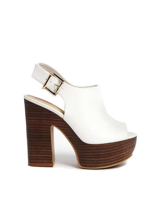 ASOS | New Look Punk White Wooden Effect Platform Heeled Sandals #asos #wooden #sandals