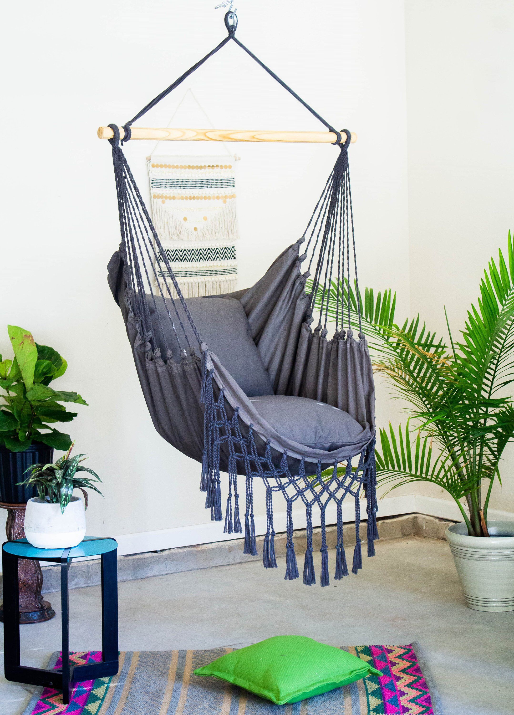 Gray Macrame Hammock Chair Boho Hammock Swing Chair Cotton Etsy Swinging Chair Hammock Swing Chair Hanging Chair Outdoor
