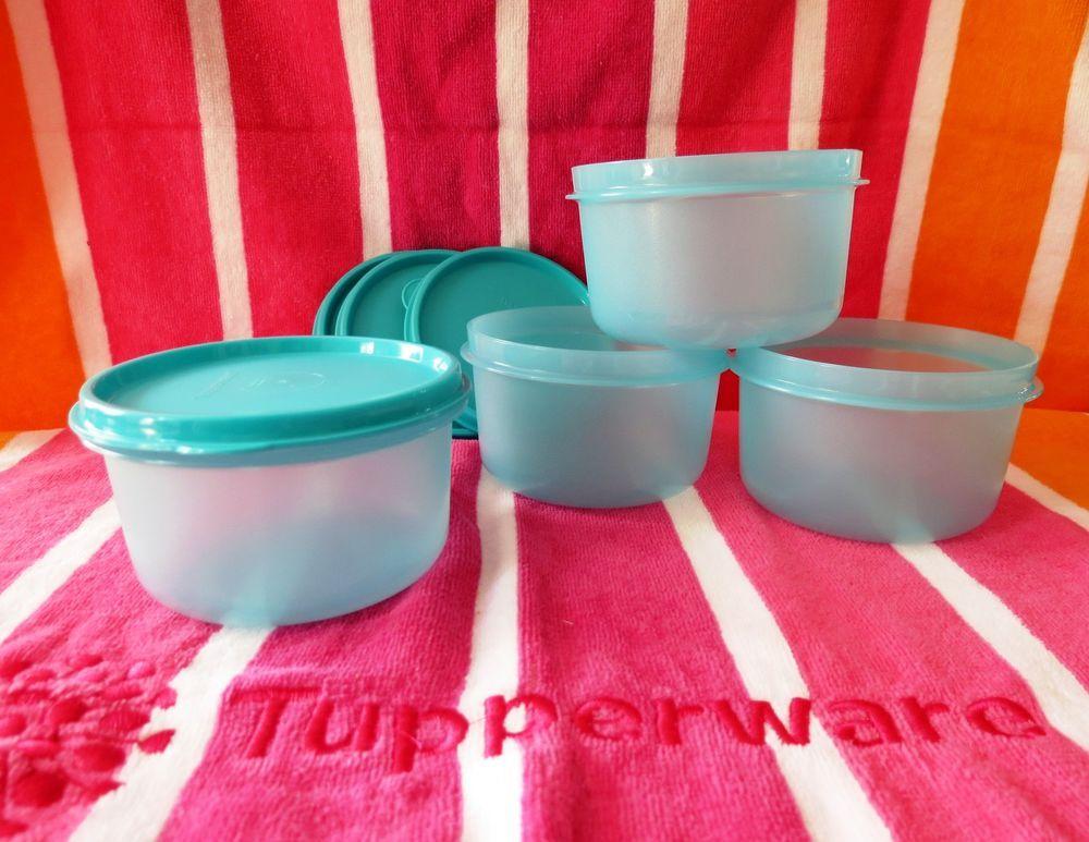 Tupperware Snack Center Bowl Set Of 4 1 1 2 Cups Caribban Sea Blue Tupperware Bowl Set Bowl