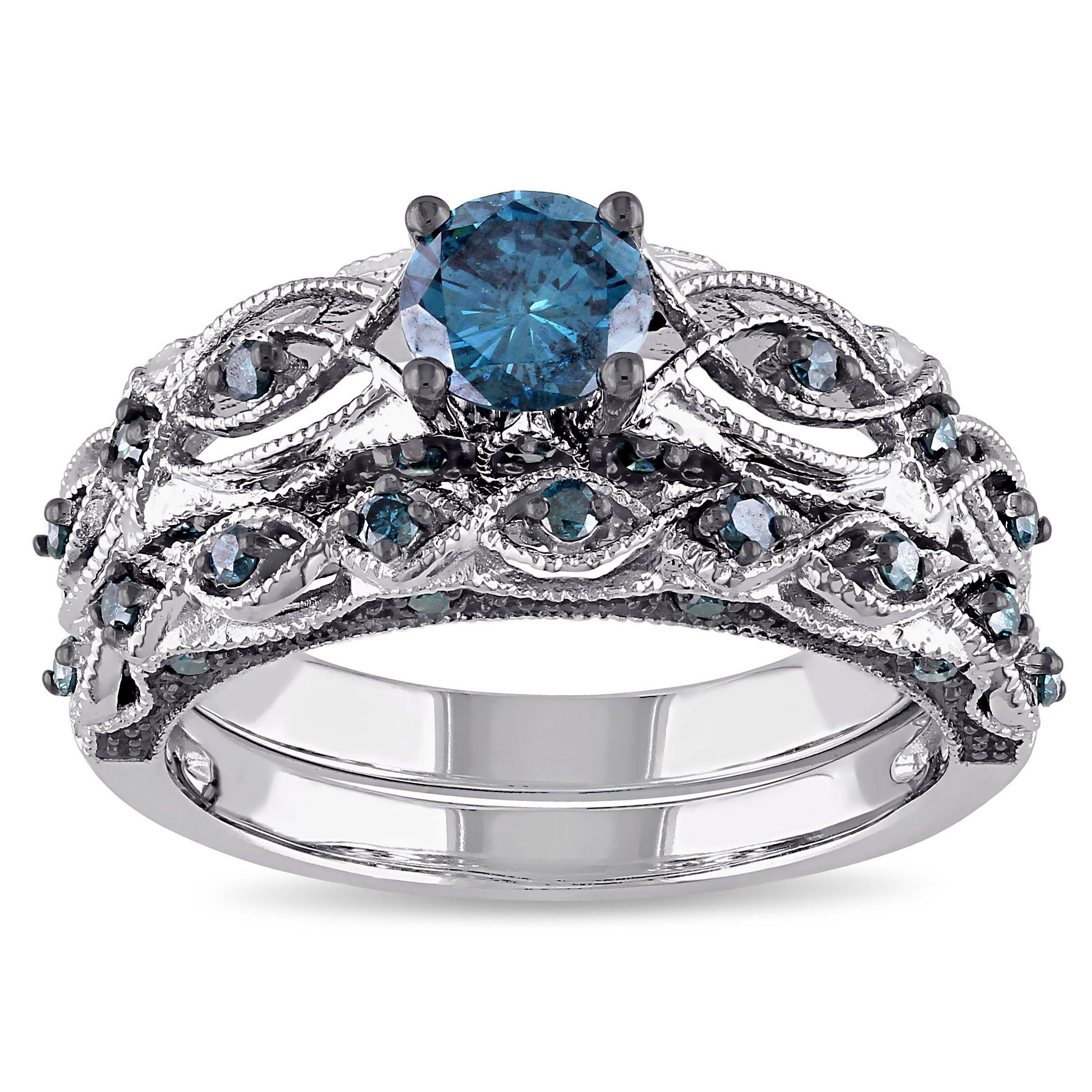 miadora signature collection 10k white gold 1ct tdw blue diamond