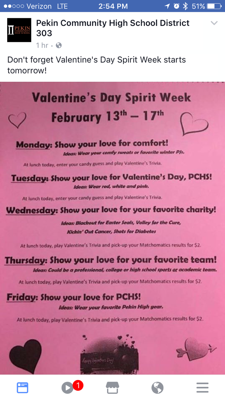 Valentines Spirit Week Student Council Spirit Student Council