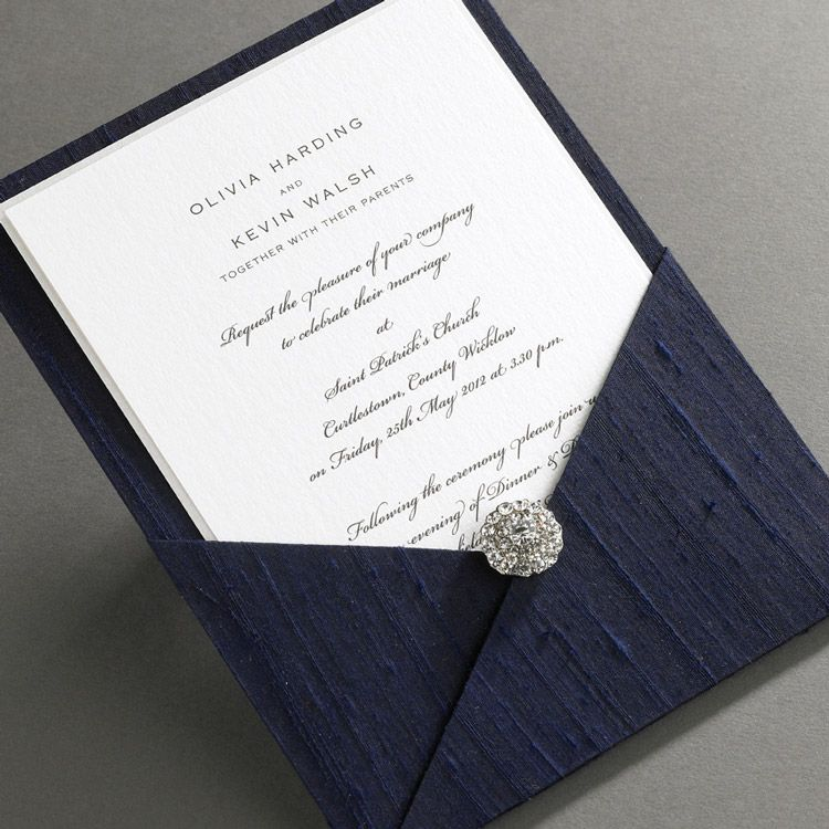 Elegant Ireland Luxury Thai Silk Pocket Wedding Invitations