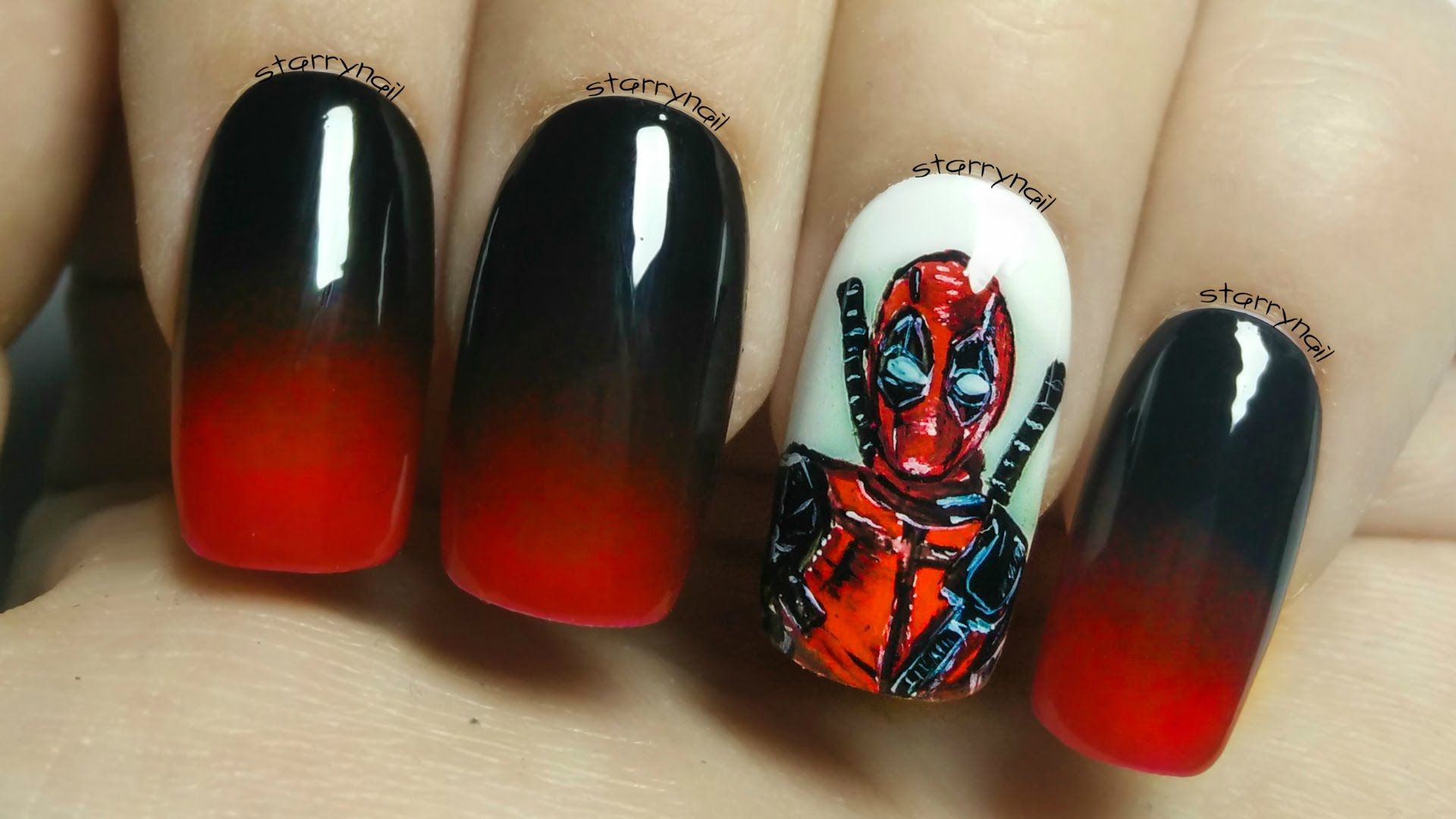 Deadpool ⎮ Freehand Nail Art Tutorial | Nail Art Community Pins ...