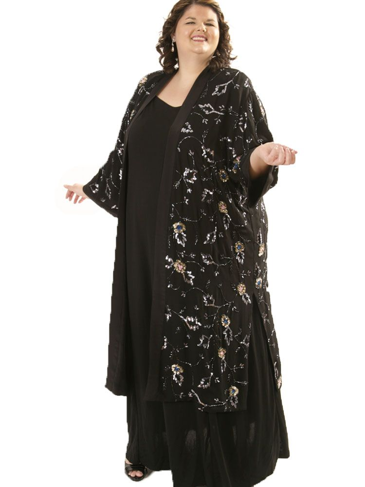 a4fc2a4b2a0d1 Plus Size Special Occasion Kimono Coat Beaded Silk Black SilverPlus Size  Evening Kimono Coat Beaded Silk Black Silver Blue