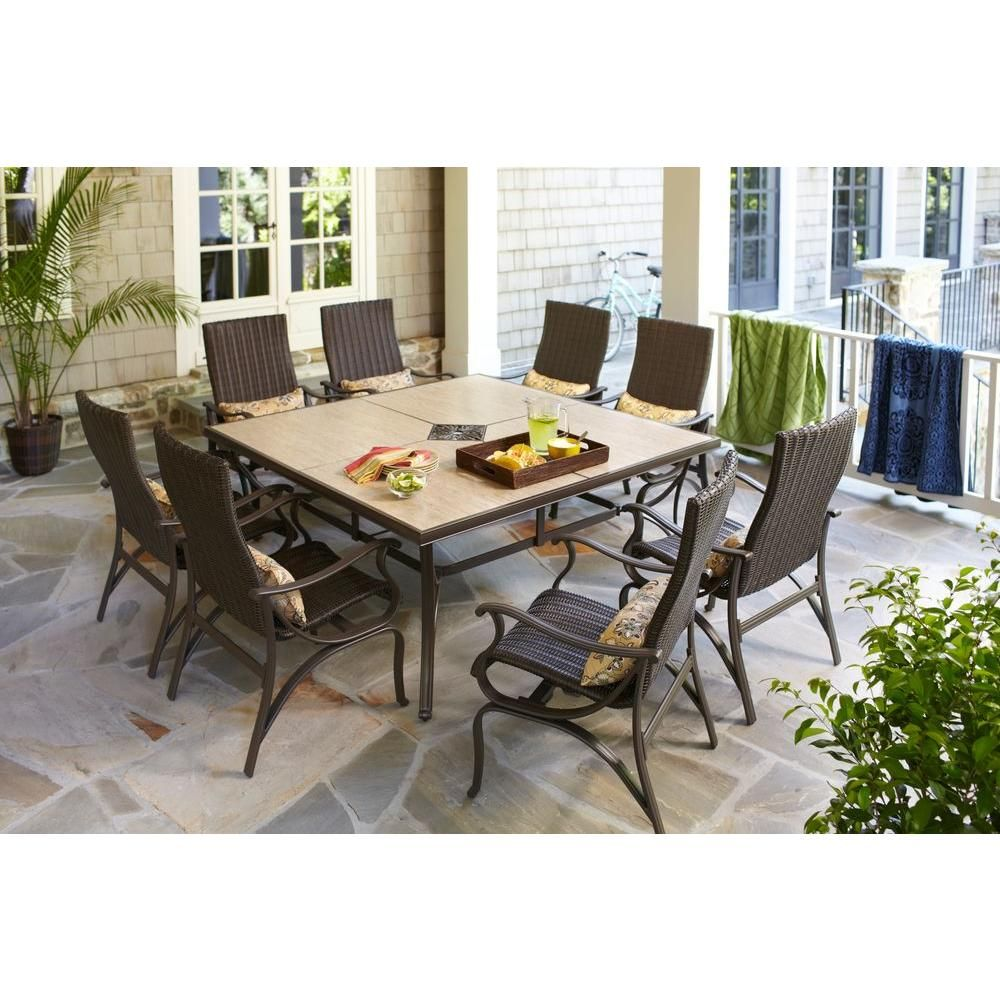 Hampton Bay Pembrey 9 Piece Patio Dining Set With Lumbar Pillows Hd14216 At The Home Depot 1 299 00