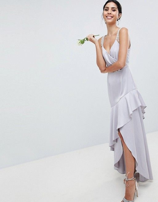DESIGN Bridesmaid Pearl Trim Strap Maxi Dress With Ruffle Skirt ...