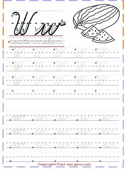 Cursive Handwriting Tracing Worksheets Letter W For Watermelon