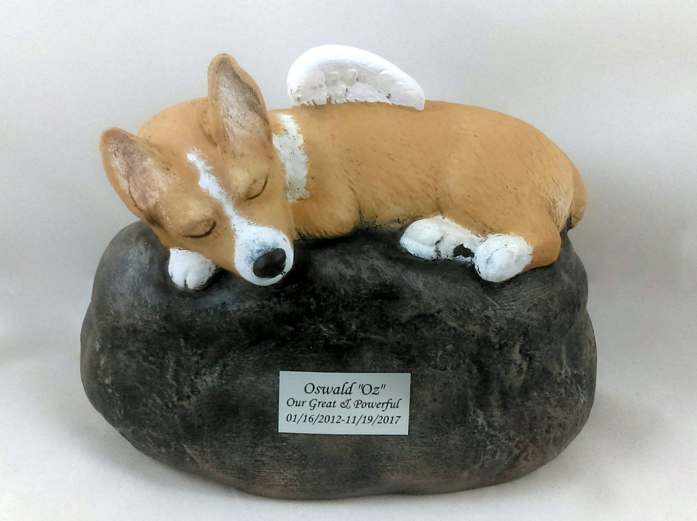 Corgi Breed Ceramic Hand Sculpted And Painted Dog Cremation Urn