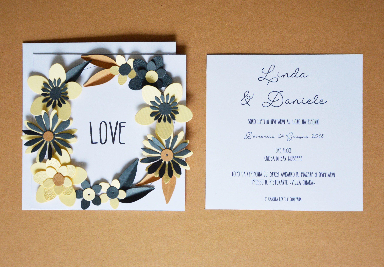 Partecipazioni Matrimonio 3d Fai Da Te.Biglietto 3d Flowers Card Partecipazione Matrimonio Invito Con