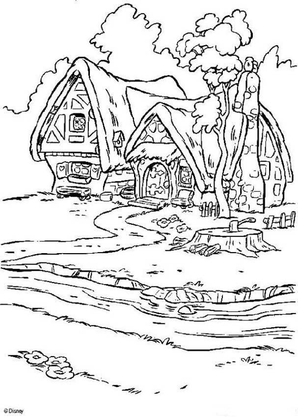 Snow White and the seven dwarfs coloring pages - Dwarfs\' house ...